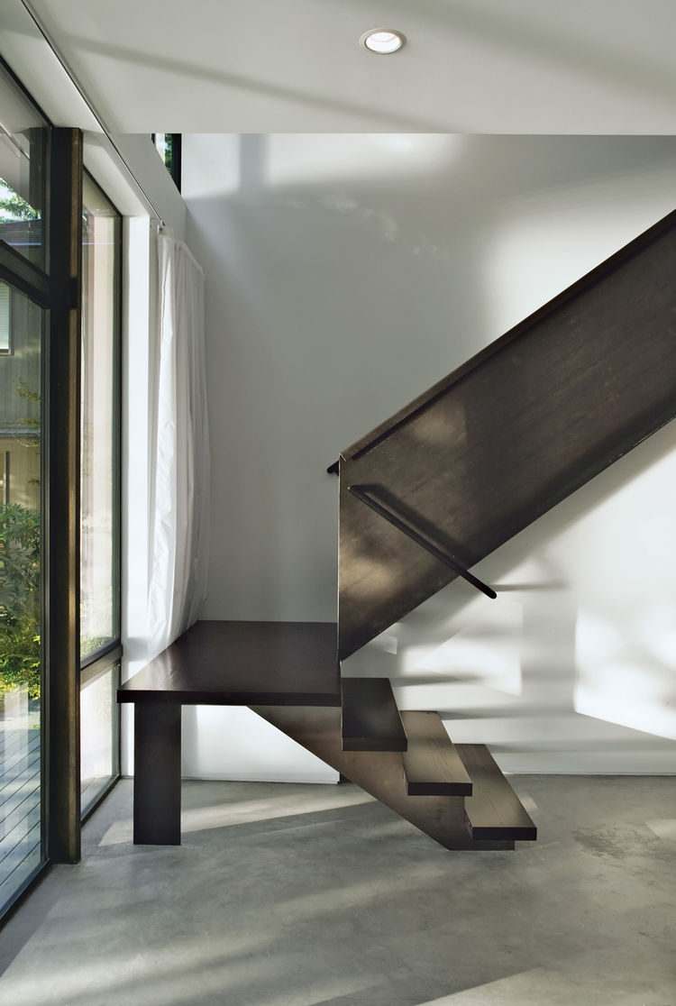 Steel staircase.