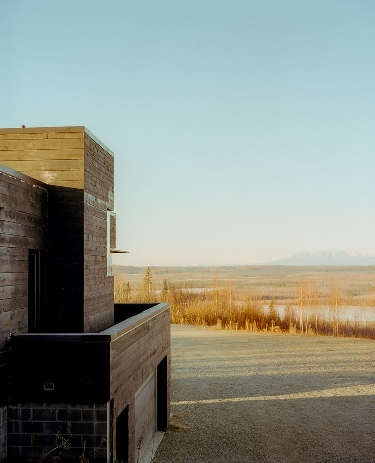Exterior view of modernist charred cedar cabin