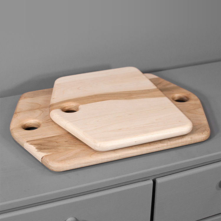 Two maple cutting and serving boards handmade by Isabella Furniture