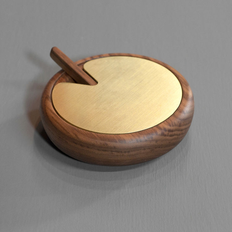 Black walnut turned salt cellar with solid brass top by Isabella Furniture