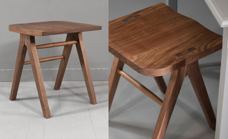 Helm stool in black walnut, inspired by Shaker design, handmade by Isabella Furniture