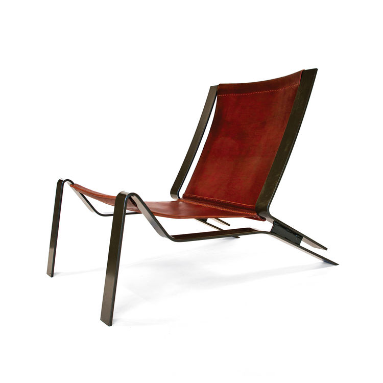 Leather and steel lounge chair.