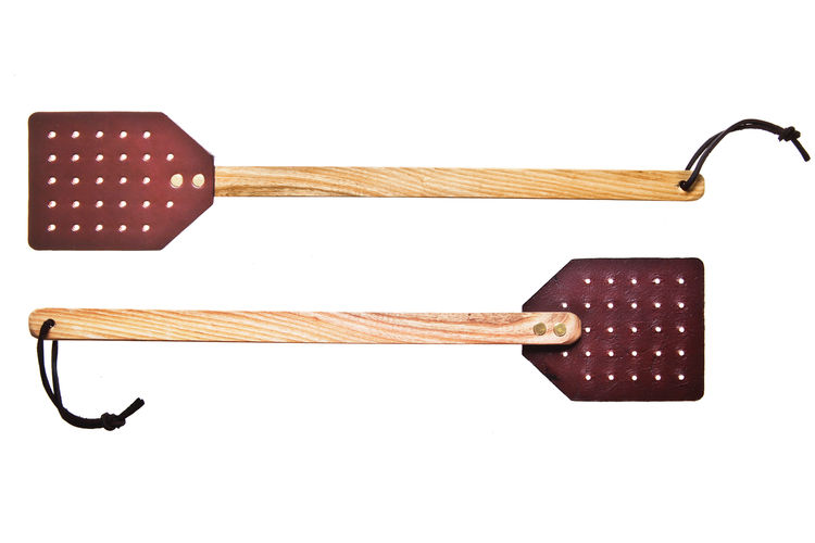 Leather fly swatter by Dennis Knight for Kaufmann Mercantile