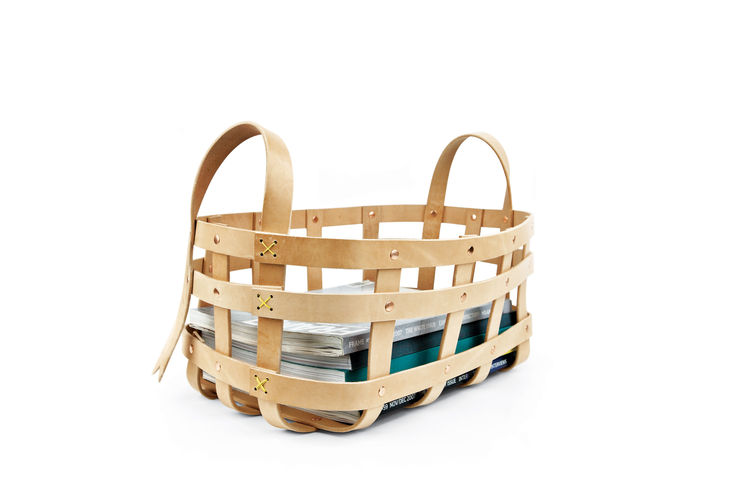 Large strap leather basket by byAMT