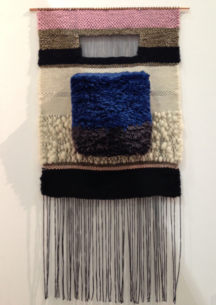 Brookl&Lyn woven textile wall hanging with gray, white and blue yarn