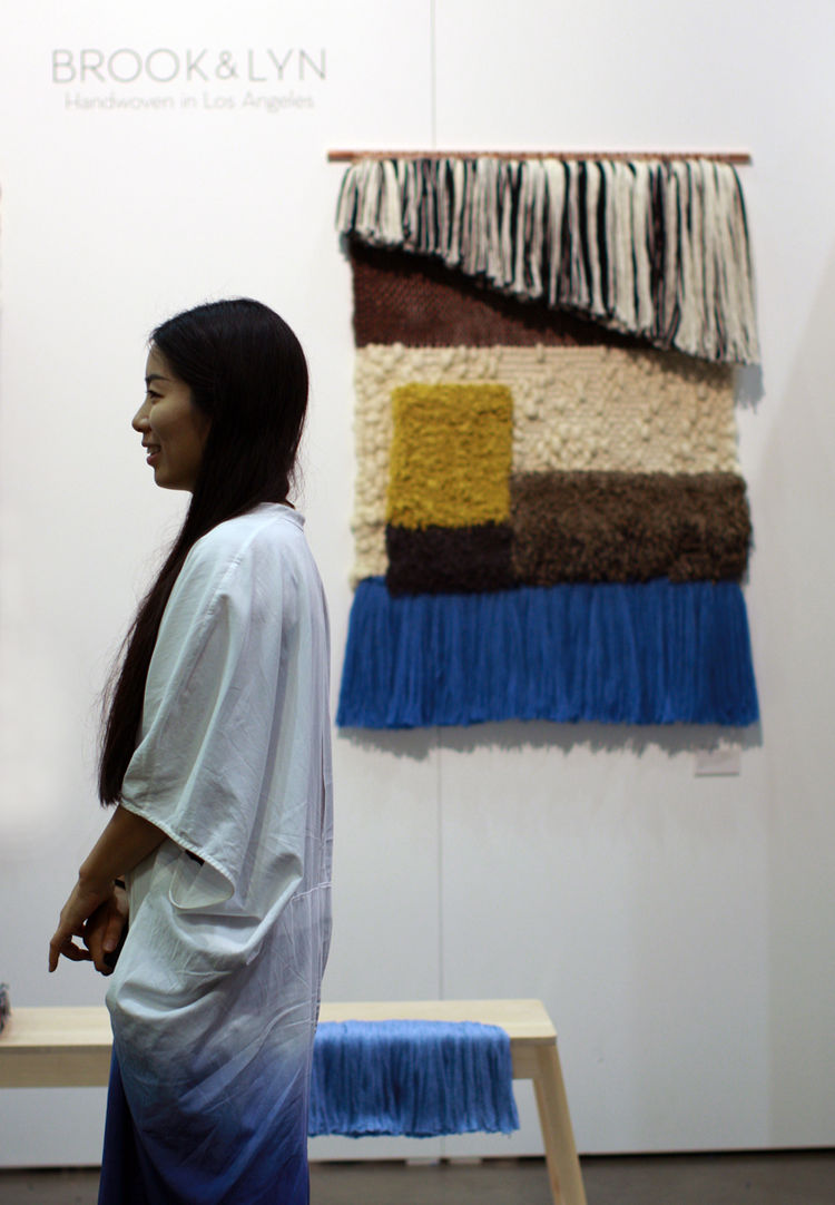 Designer Mimi Jung of Brook&Lyn with woven textile art