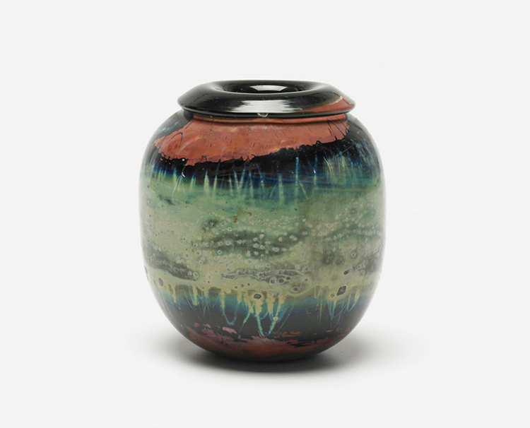 Handblown glass vase by Kent Ipsen from 1972 at Wright auction house