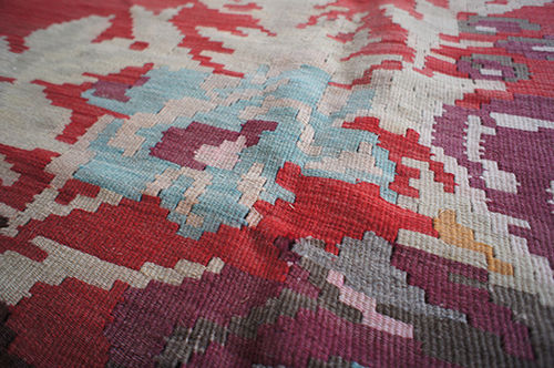 Balkan kilim rug with geometric florals from Aelfie