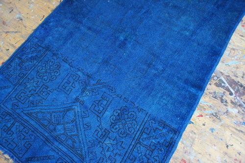 Blue overdyed Turkish rug at Aelfie