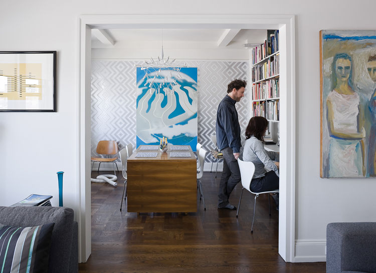 Graphic designers Jeanette and Mike Abbink in their Brooklyn living room and office