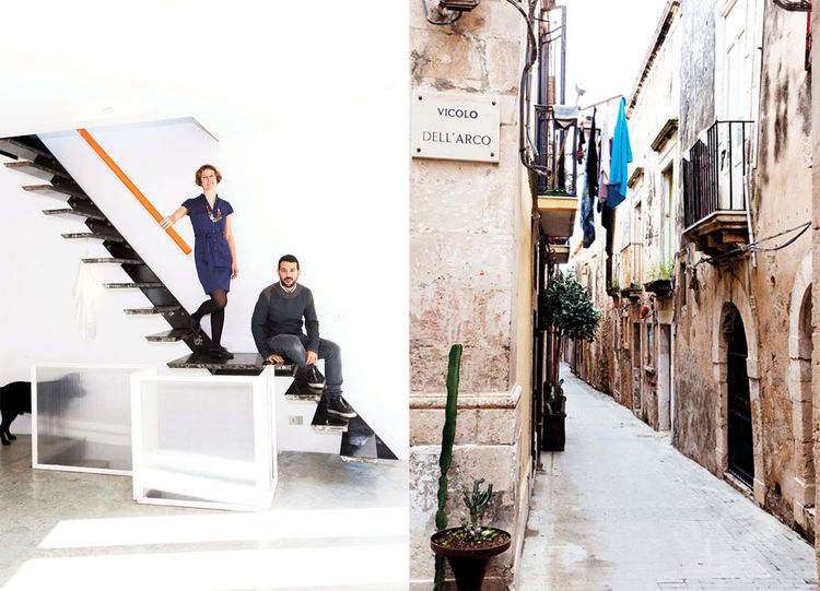 collage of interior and exterior of modernized Italian home with historical facade