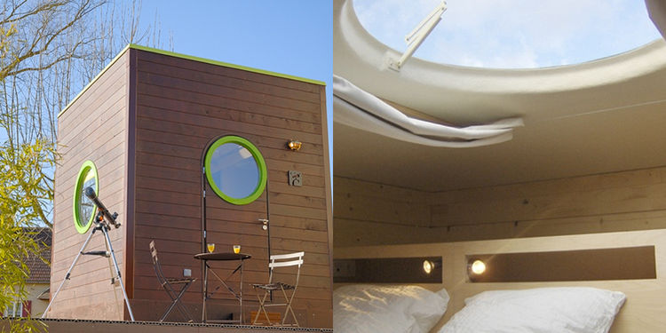 interior and exterior of cube-shaped hotel units for luxury camping France