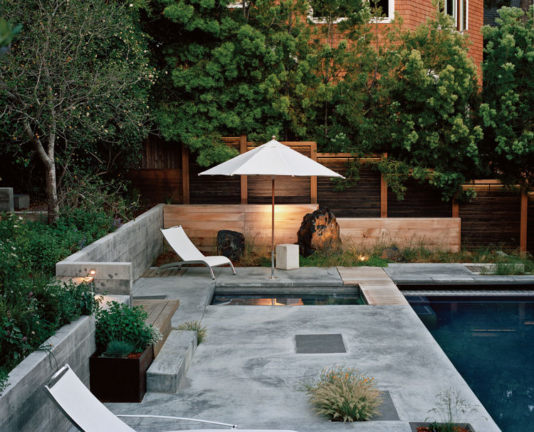 Modern outdoor lap pool area with slatted cedar screen