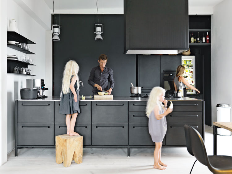 Modern black and white minimalist Danish design kitchen