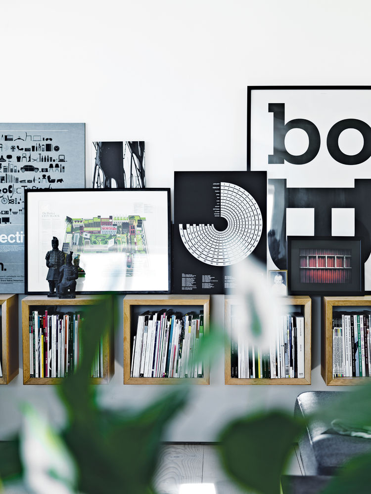 Modern living area with Boox magazine shelving by Jesper Holm