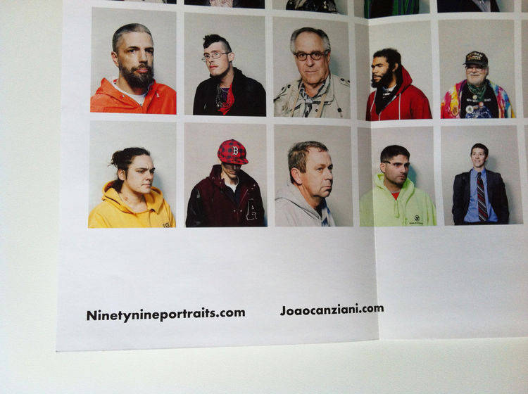 "A detail of the lower right corner of João's promo from of the series ""Ninetynine."" He has his name and website details listed very subtle on the fold-out. portrait, Zucotti Park, New York City, 2011 photography promotion marketing"