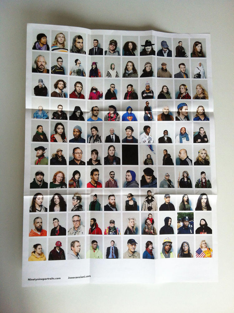 "One side of the promo of the series ""Ninetynine"" by João Canziani, fold-out,  portrait, Zucotti Park, New York City, 2011 photography promotion marketing"