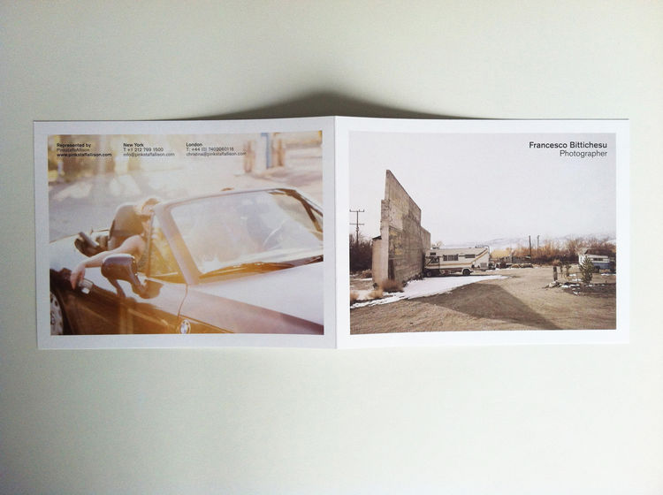 Exterior spread of the photography promo of Francesco Bittichesu. lifestyle documentary RV landscape girl in car summer