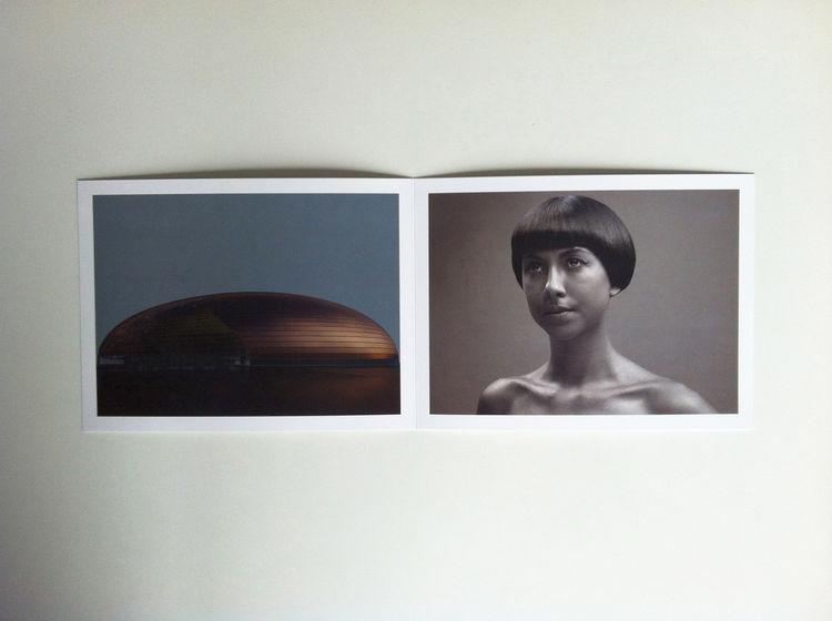 Interior spread of the photography promo of Francesco Bittichesu black and white portrait girl lady studio architecture exterior