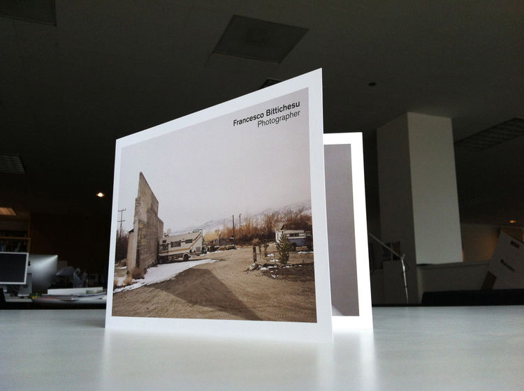 Photography promo by Francesco Bittichesu, in the form of a greeting card fold.  RV cemnt landscape documentary