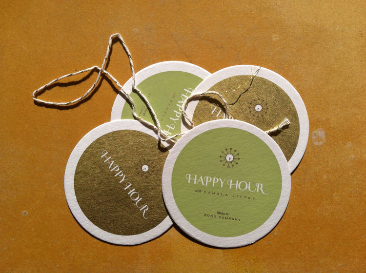 Custom drink coasters included in the promo package from Littky.