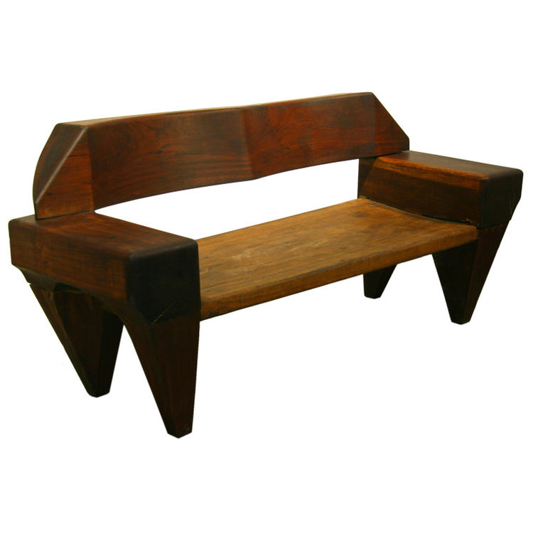 Wooden bench by Jose Zanine Caldas