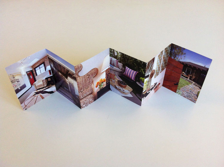 Aerial of the accordian fold-out of Izumi Tanaka's photography promo. interior design