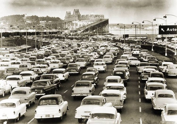 San Francisco Bay Bridge Traffic 1958