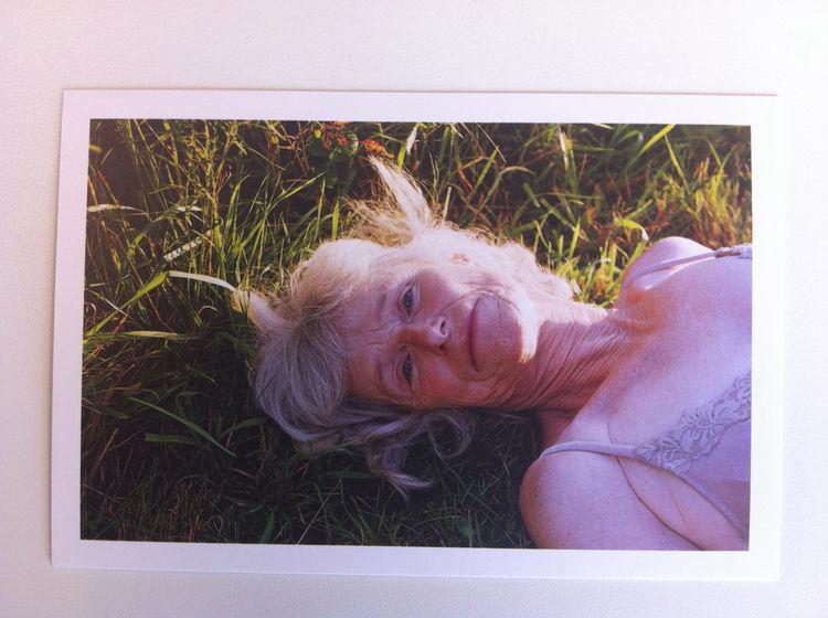 promo card Katherine Wolkoff sent in one envelope. chicken baby flowers garden lifestyle beautiful table window elderly senior citizen