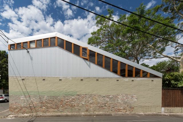 facade of modern house in Australia clad in corrugated metal