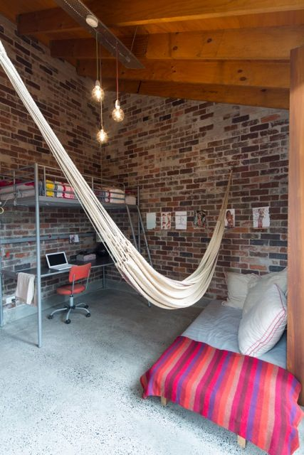 bedroom and office in modern house with hammock
