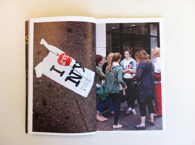 Interior spread of a NYC street scene included in Dennis Burnett's promo. New York City street bag girls