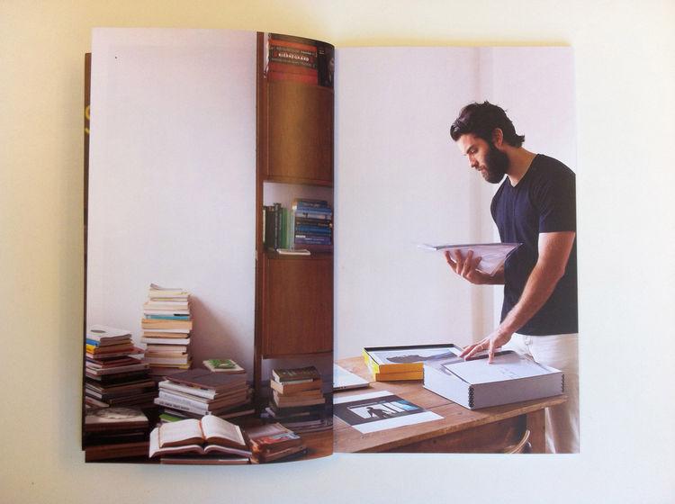 A portrait of Dwell photographer Mark Mahaney included in Dennis Burnett's promo. man beard books studio