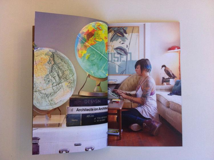 A portrait of a lady and some design books a part of Dennis Burnett's promo. punk designer studio couch interior
