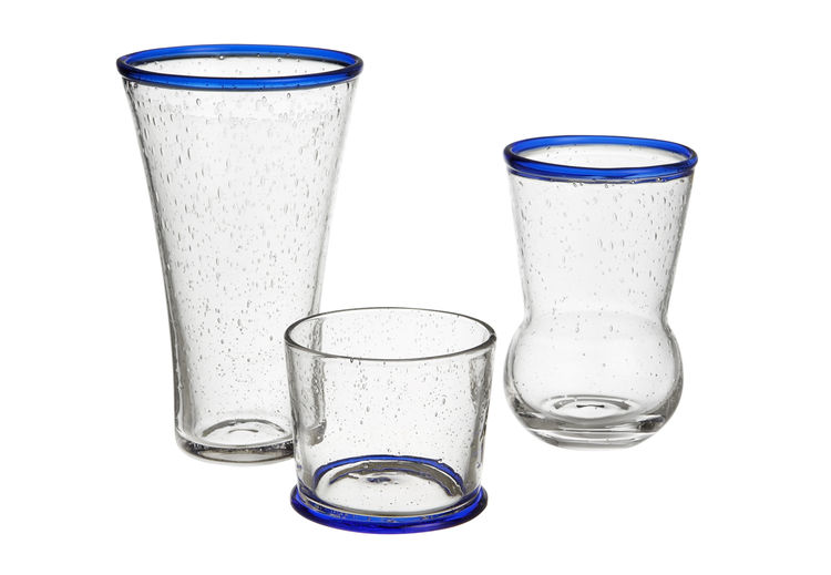 Como glass barware tumbler collection with blue rim by Paola Navone Crate & Barrel