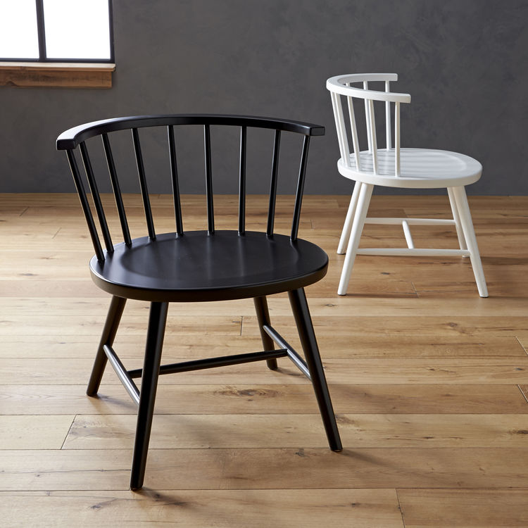 Wood Riviera Windsor chairs in black white Paola Navone for Crate & Barrel