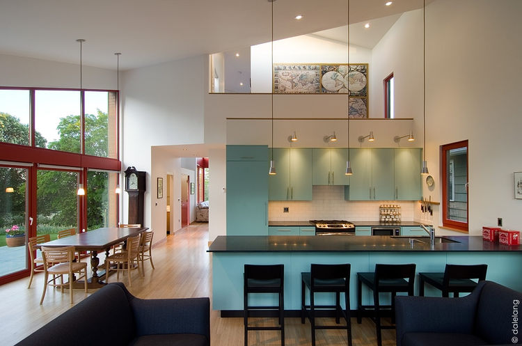 Modern kitchen with blue cabinets