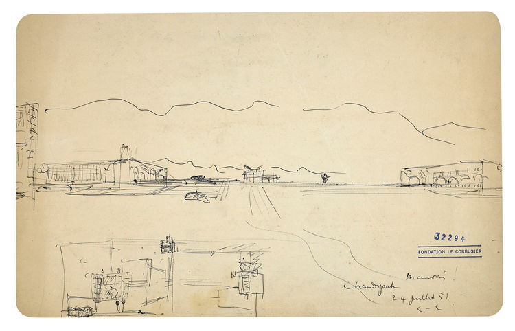 Palace of Assembly and the High Court drawing by Le Corbusier