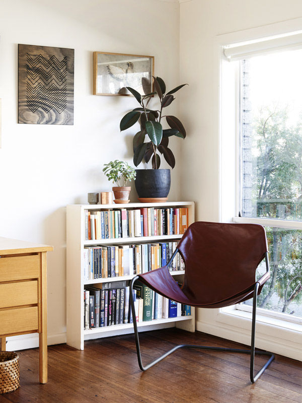 modern office with leather paulistano armchair