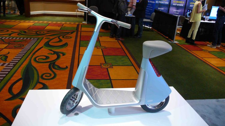 3D-printed scooter at the 3D Systems display