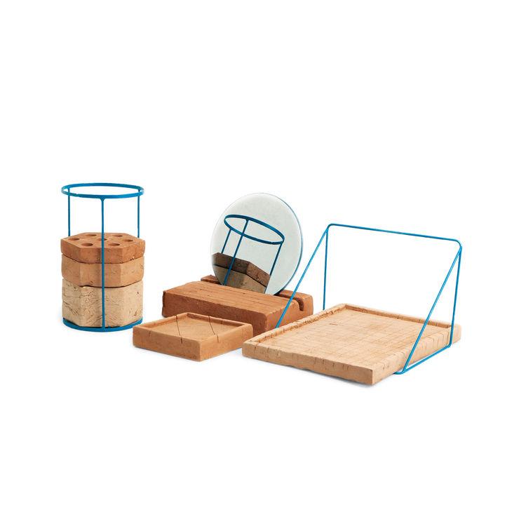 Adobe desk tools in terra cotta by Ilaria Innocenti