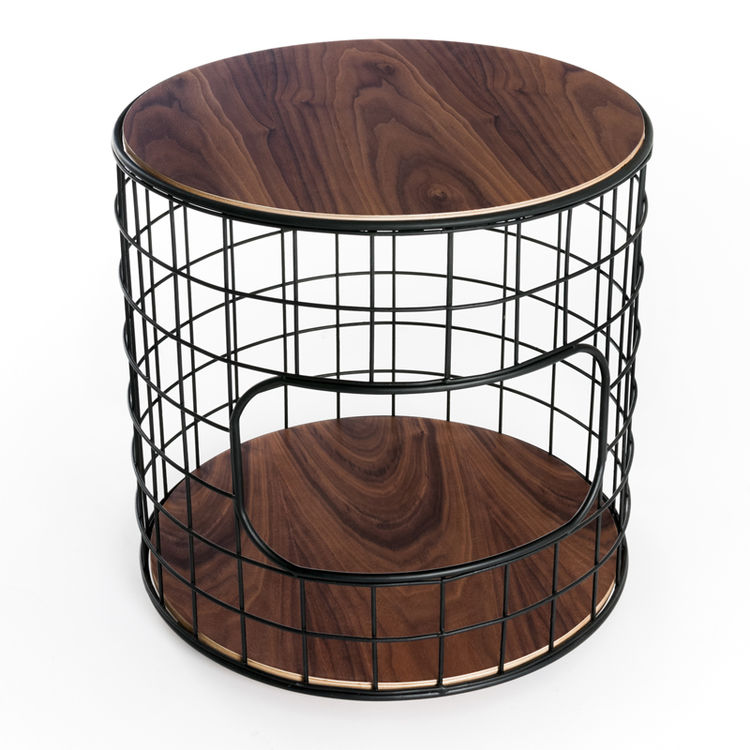 wireframe powder coated steel walnut side table Gus Modern