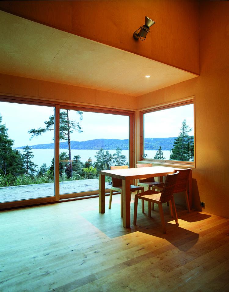 norwegian prefab cabin interior living room
