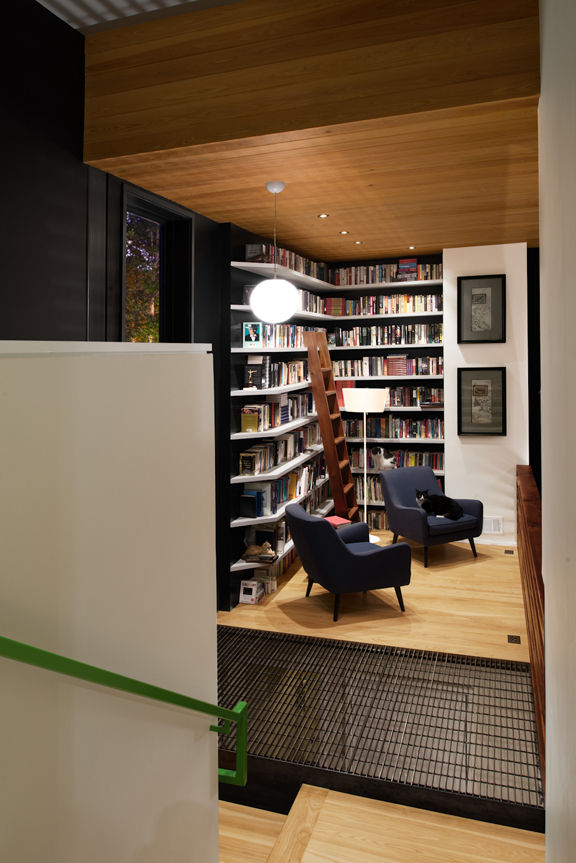 library with built-in bookshelves