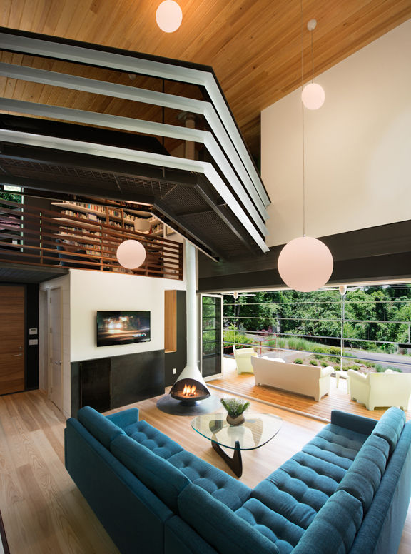 double height living room with ash wood floor
