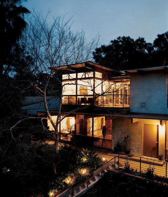 garcetti wakeland house exterior house at night