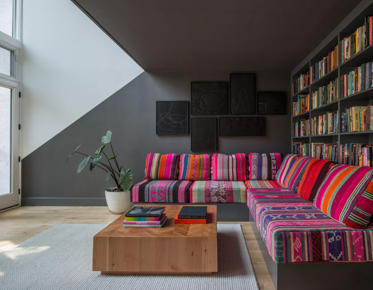 Jessica Helgerson Interior Design Brooklyn brownstone alcove stairs sofa upholstery