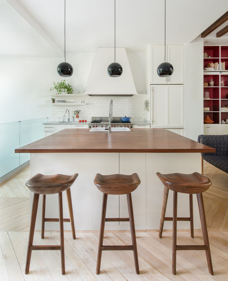 Brooklyn brownstone interior design renovation kitchen stools pendant lamps Jessica Helgerson