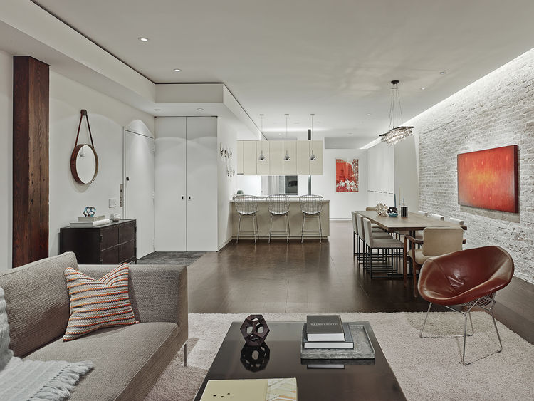 living room and dining room in new york loft renovation
