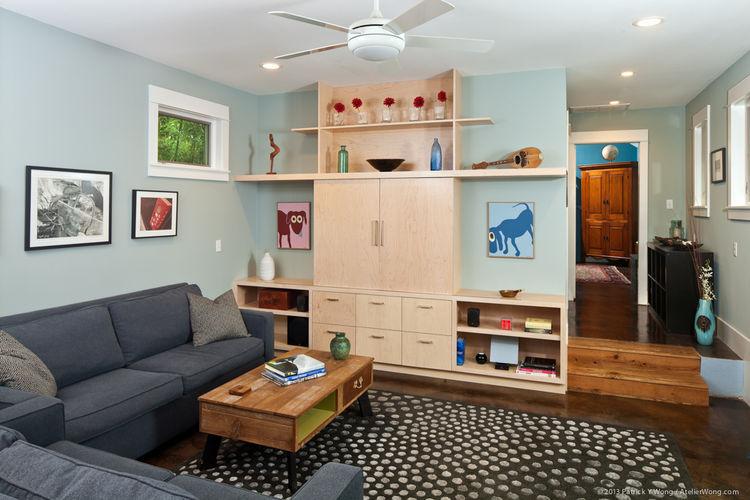 Living room Austin home bungalow remodel renovation Merzbau Design Collective